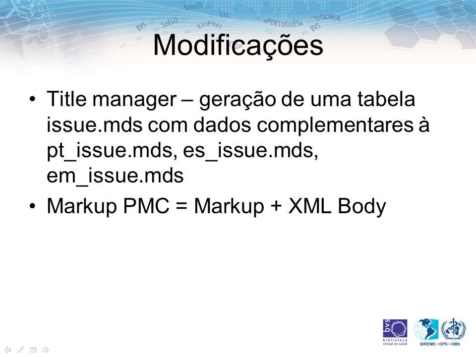 ModificaçõesTitle manager – geração de uma tabela issue.mds com dados complementares à pt_issue.mds, es_issue.mds, em_issue.mds.