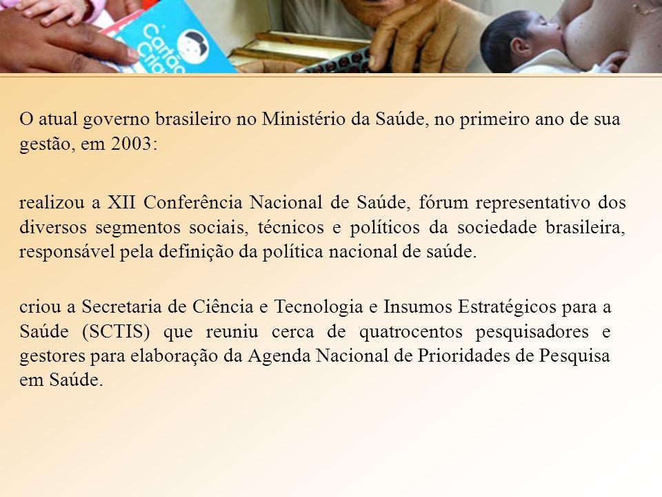 O atual governo brasileiro no Ministério da Saúde, no primeiro ano de sua gestão, em 2003: