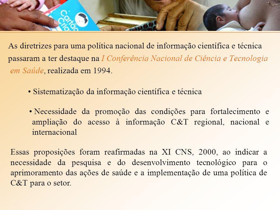 As diretrizes para uma política nacional de informação científica e técnica