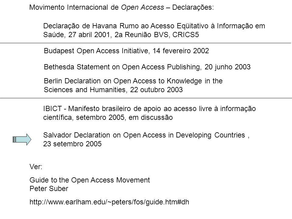 Movimento Internacional de Open Access – Declarações: