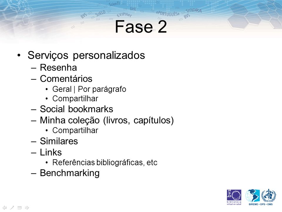 Fase 2 Serviços personalizados Resenha Comentários Social bookmarks