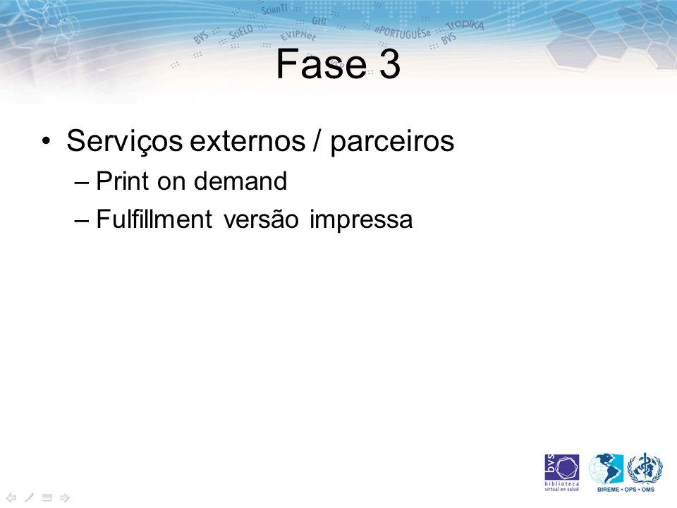 Fase 3 Serviços externos / parceiros Print on demand