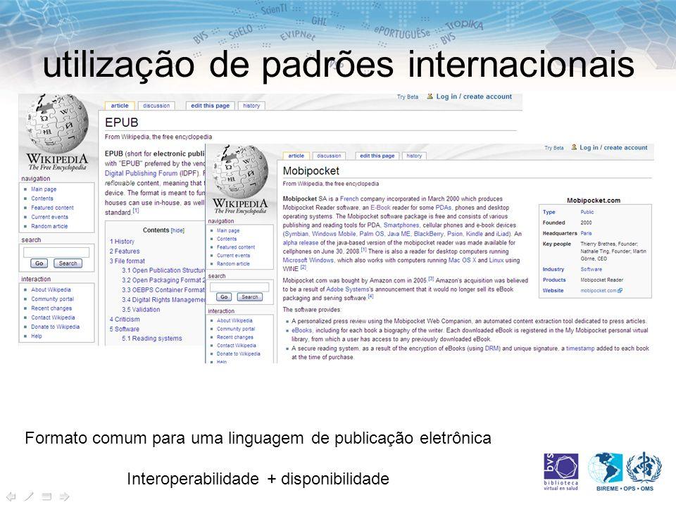 utilização de padrões internacionais
