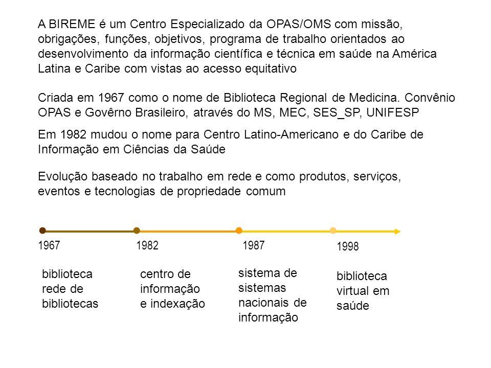 A BIREME é um Centro Especializado da OPAS/OMS com missão, obrigações, funções, objetivos, programa de trabalho orientados ao desenvolvimento da informação científica e técnica em saúde na América Latina e Caribe com vistas ao acesso equitativo