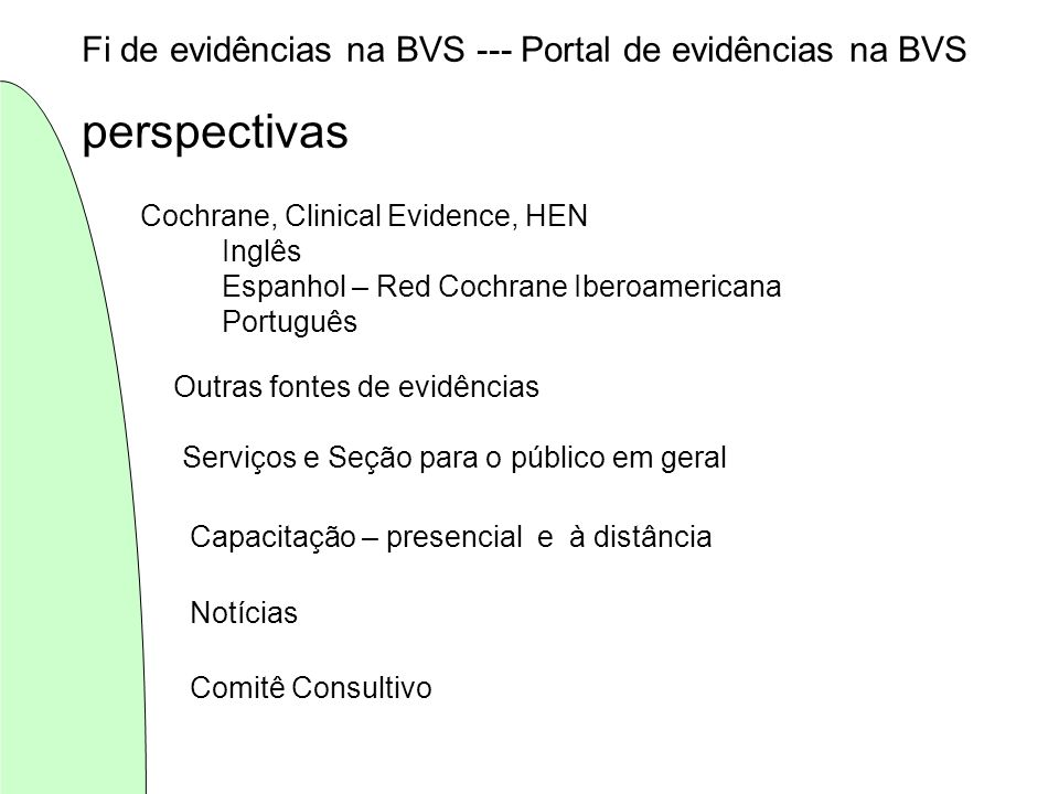 perspectivas Fi de evidências na BVS --- Portal de evidências na BVS