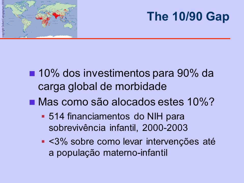 The 10/90 Gap 10% dos investimentos para 90% da carga global de morbidade. Mas como são alocados estes 10%