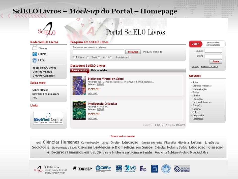 SciELO Livros – Mock-up do Portal – Homepage