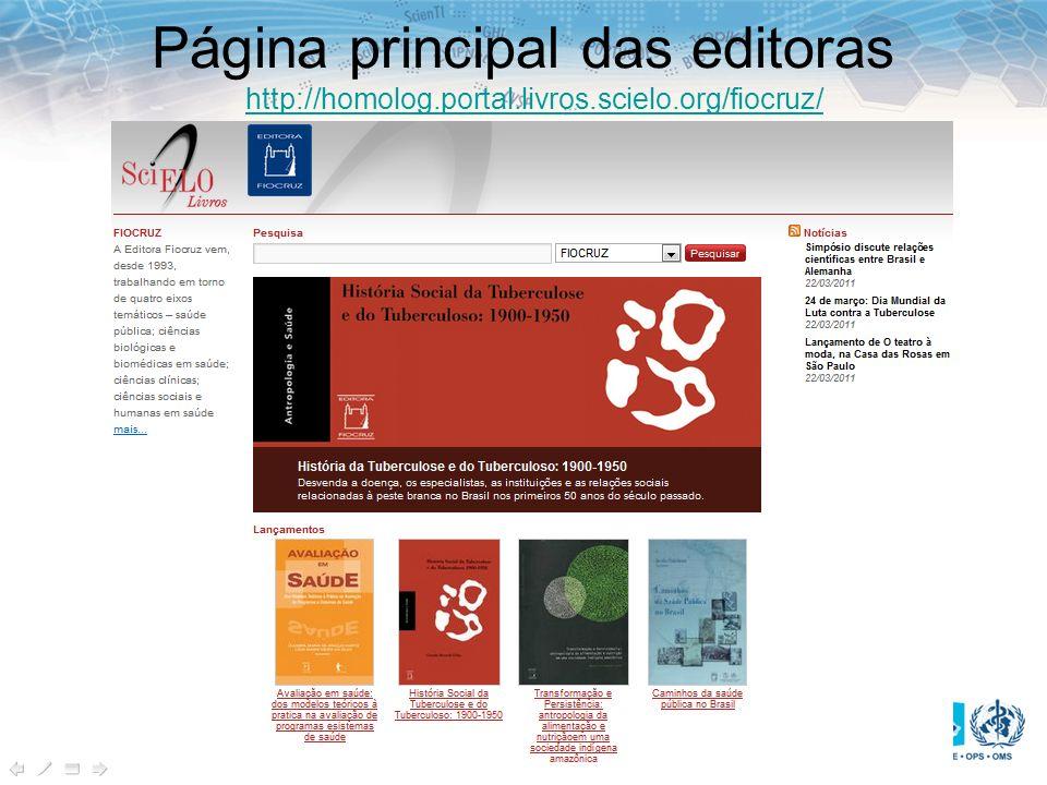 Página principal das editoras