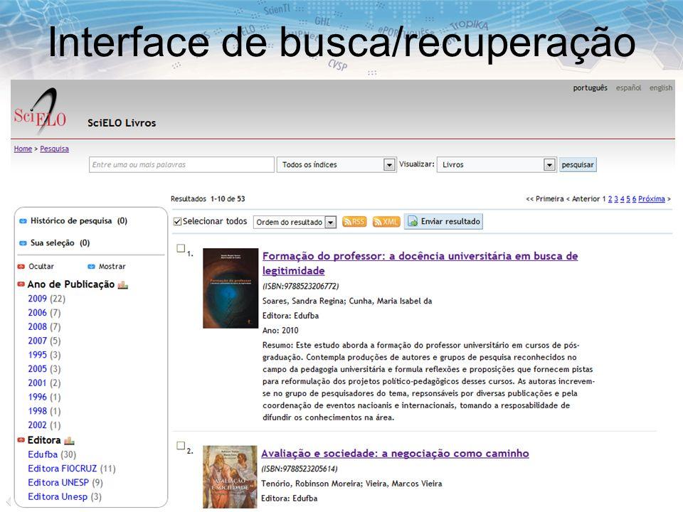 Interface de busca/recuperação
