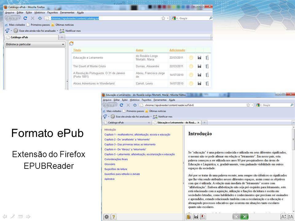 Formato ePub Extensão do Firefox EPUBReader