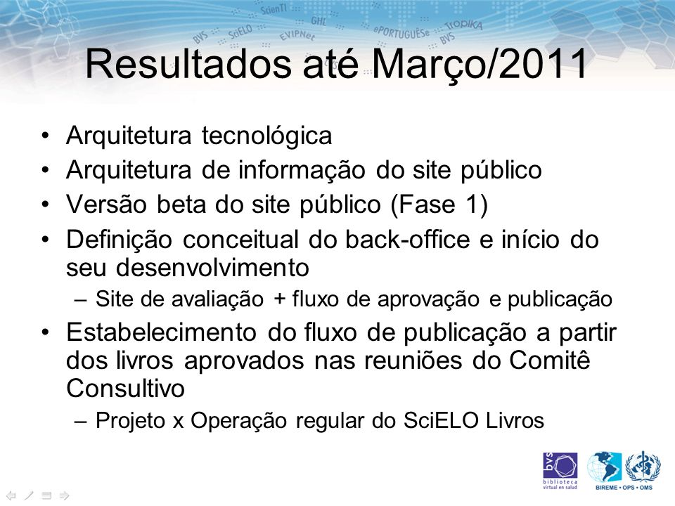 Resultados até Março/2011 Arquitetura tecnológica