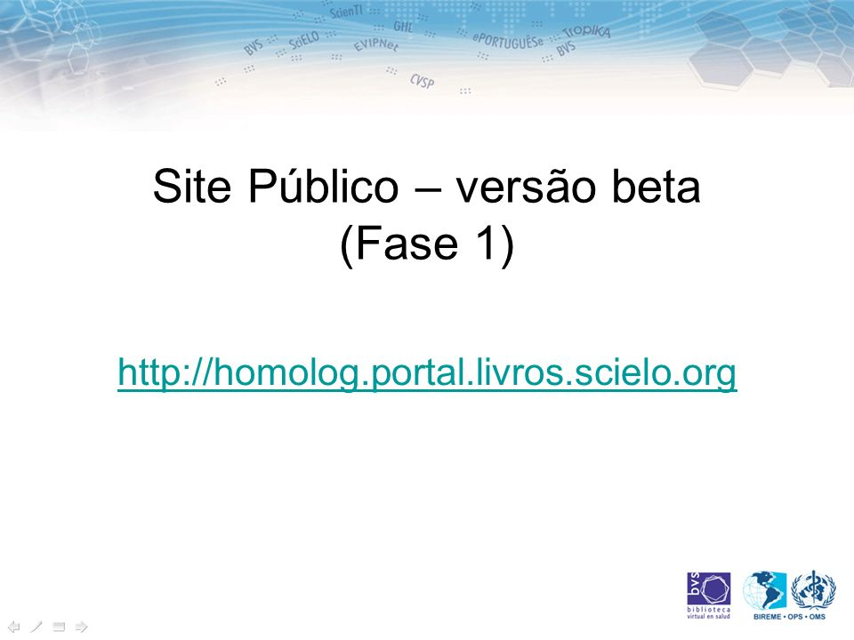 Site Público – versão beta (Fase 1)