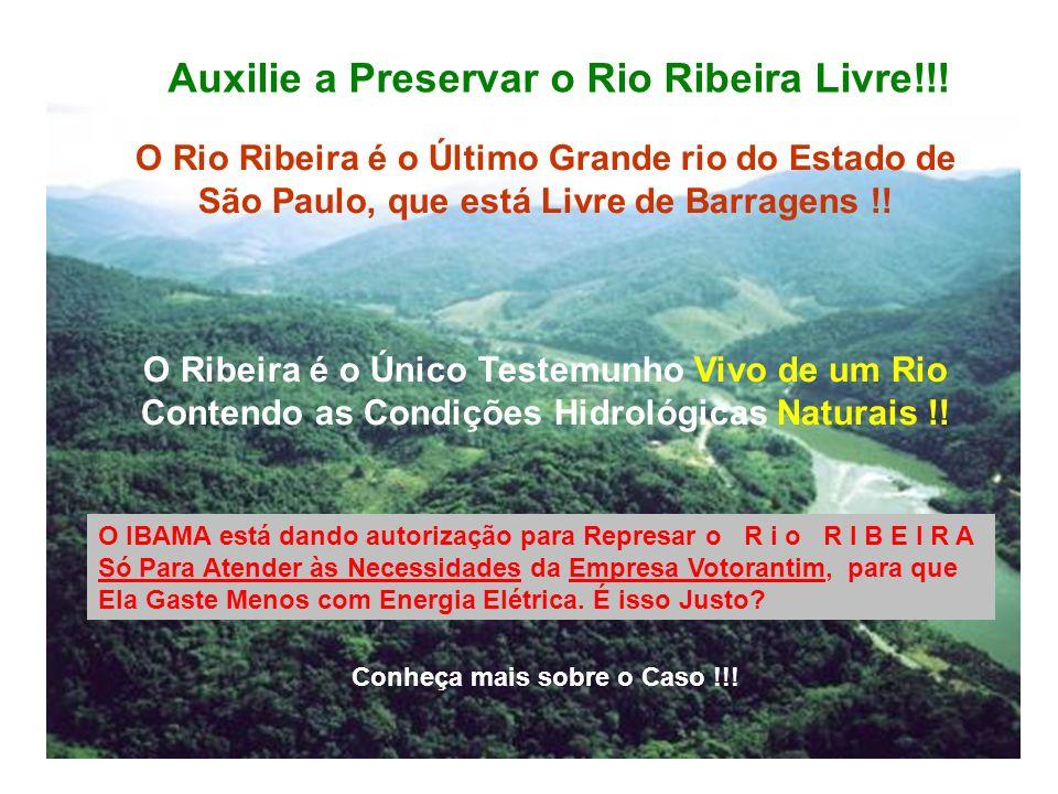 Auxilie a Preservar o Rio Ribeira Livre!!!