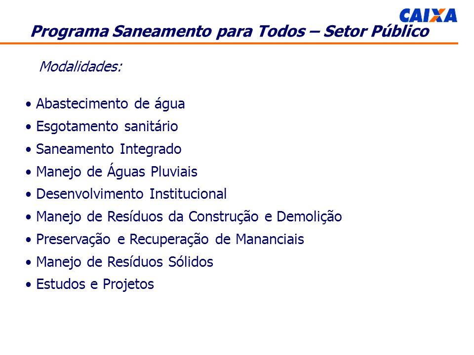 Programa Saneamento para Todos – Setor Público