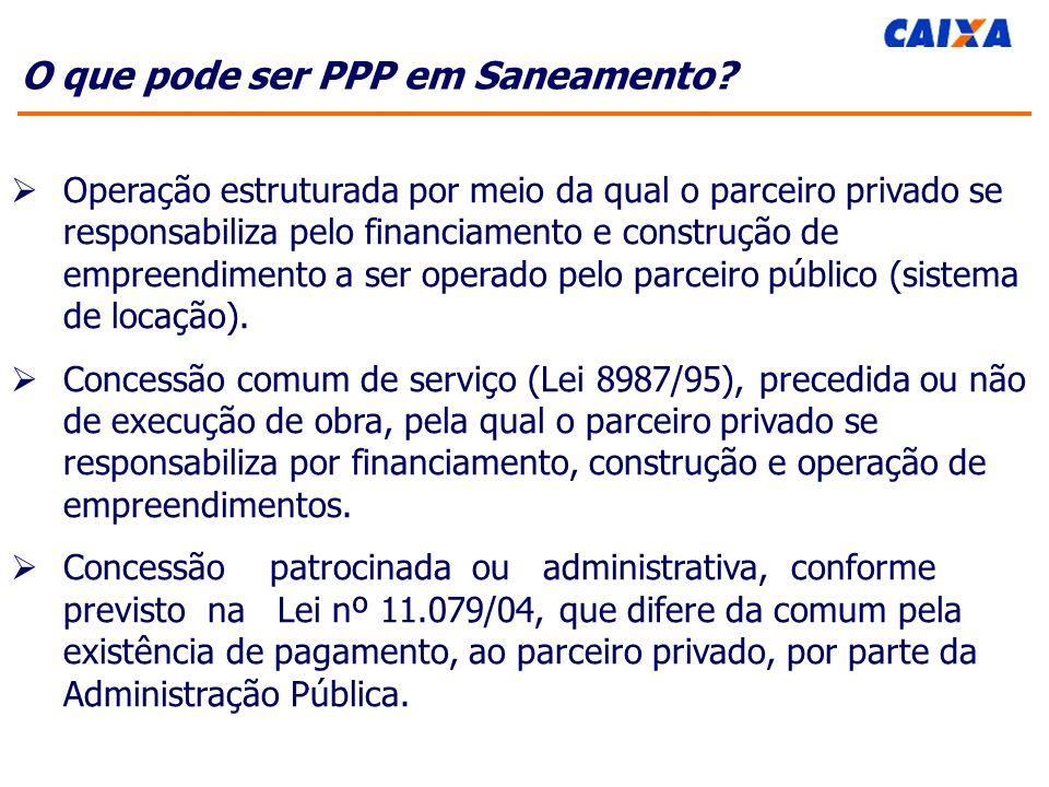 O que pode ser PPP em Saneamento