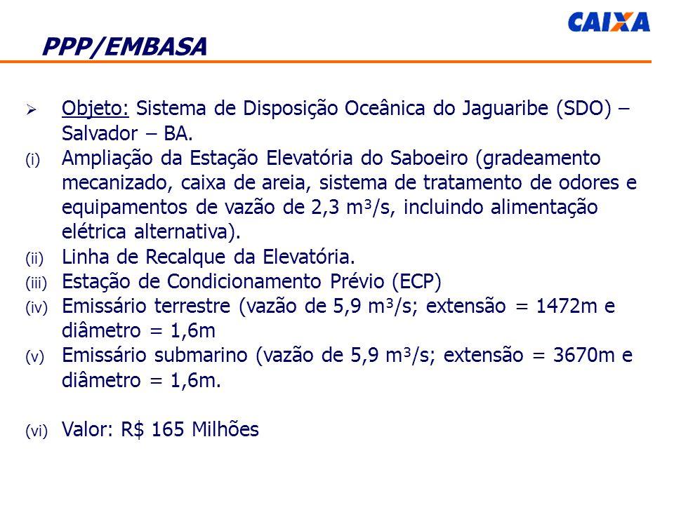 PPP/EMBASA Objeto: Sistema de Disposição Oceânica do Jaguaribe (SDO) – Salvador – BA.