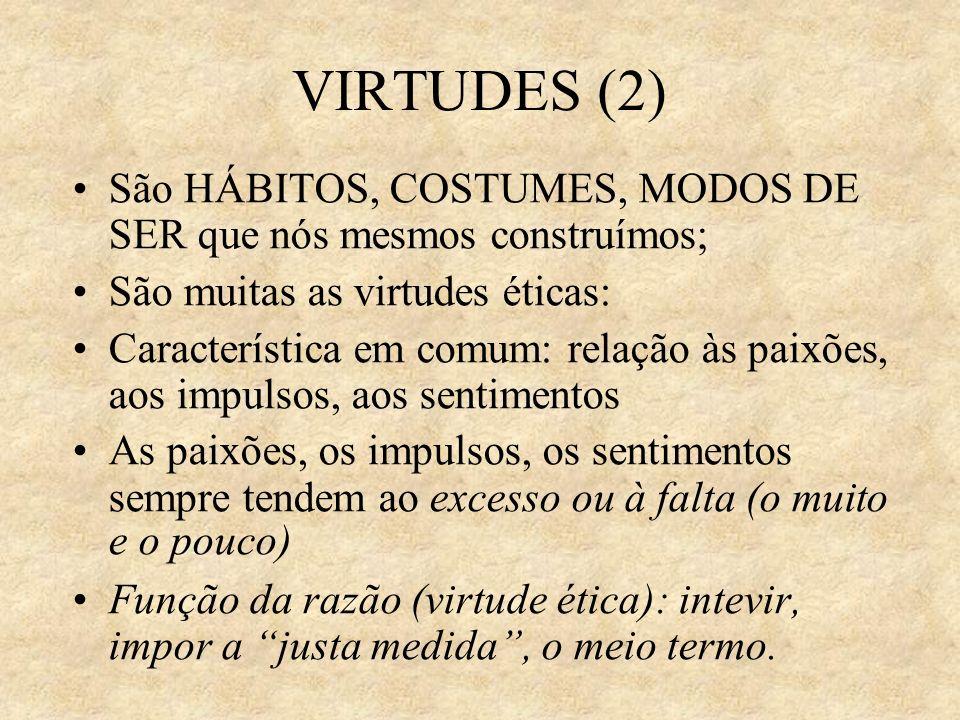 VIRTUDES (2) São HÁBITOS, COSTUMES, MODOS DE SER que nós mesmos construímos; São muitas as virtudes éticas: