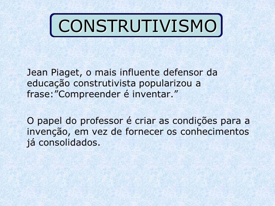 CONSTRUTIVISMO Jean Piaget, o mais influente defensor da educação construtivista popularizou a frase: Compreender é inventar.