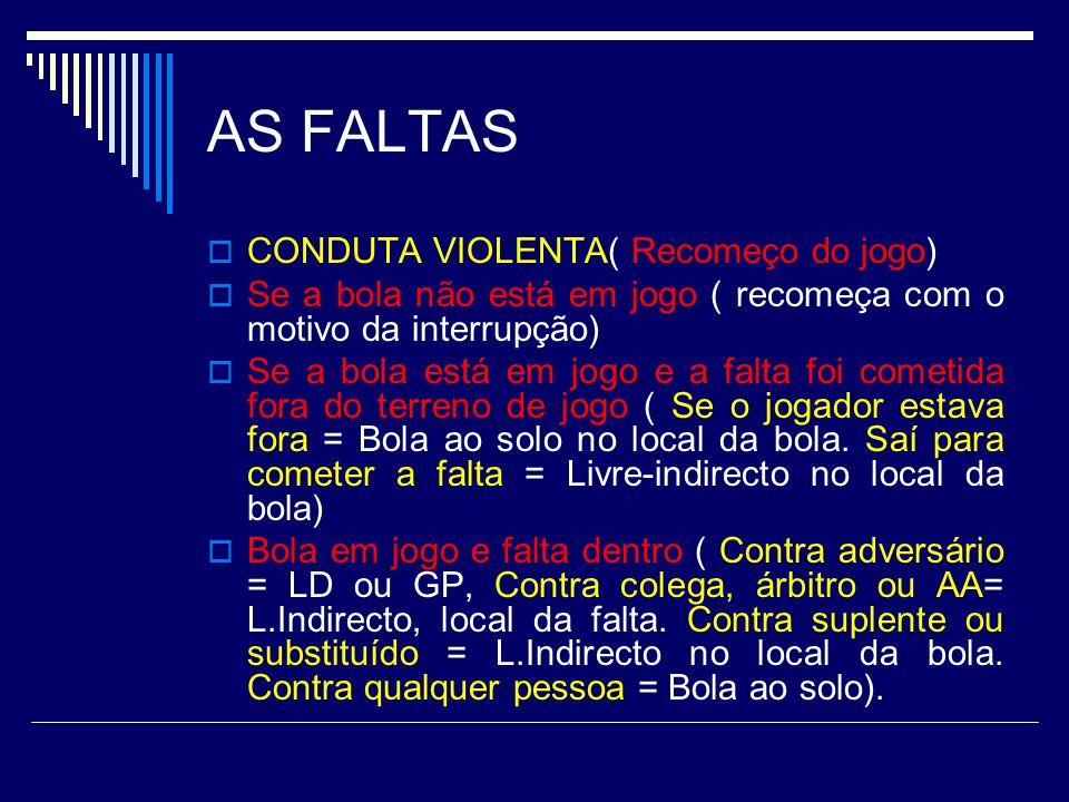 AS FALTAS CONDUTA VIOLENTA( Recomeço do jogo)