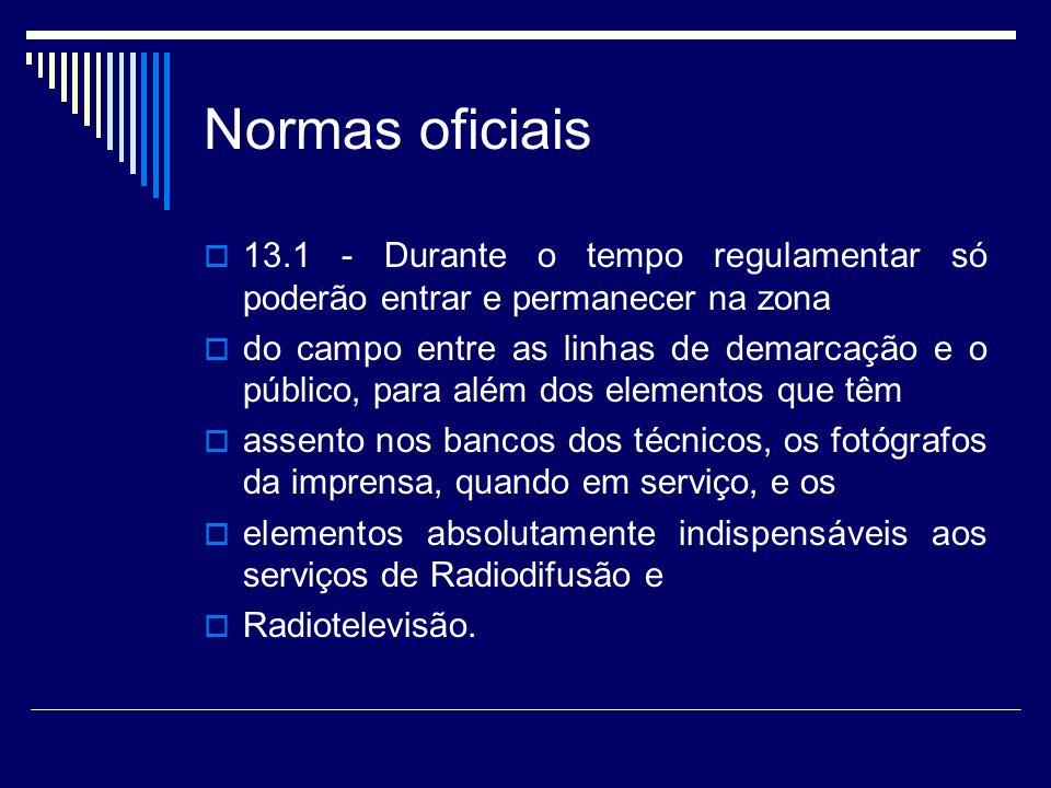 Normas oficiais 13.1 - Durante o tempo regulamentar só poderão entrar e permanecer na zona.
