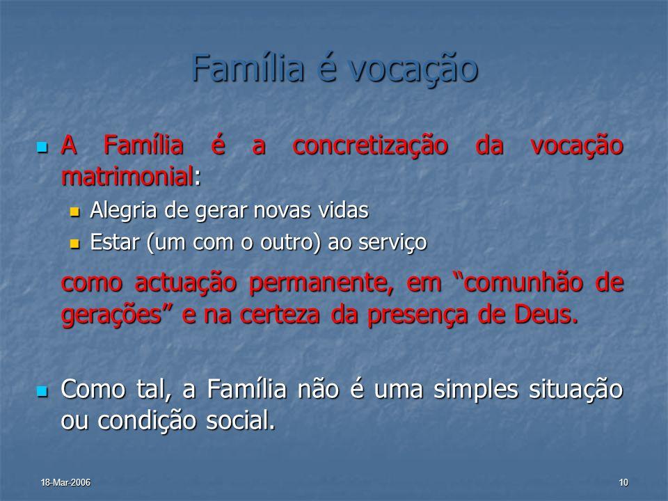 Família é vocaçãoA Família é a concretização da vocação matrimonial: Alegria de gerar novas vidas. Estar (um com o outro) ao serviço.