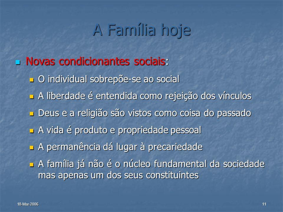 A Família hoje Novas condicionantes sociais: