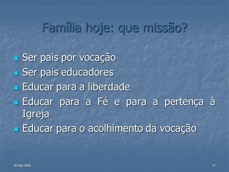 Família hoje: que missão