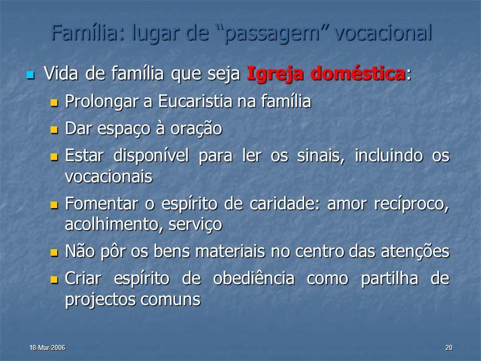Família: lugar de passagem vocacional