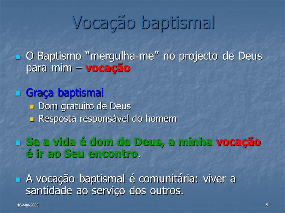 Vocação baptismalO Baptismo mergulha-me no projecto de Deus para mim – vocação. Graça baptismal. Dom gratuito de Deus.