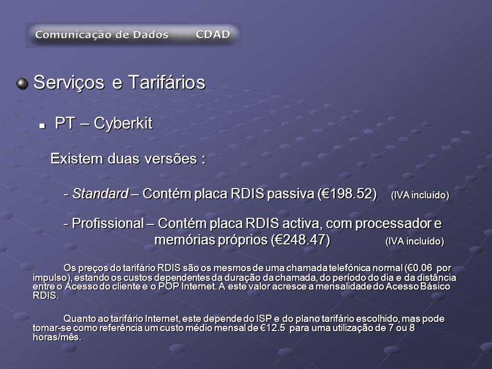 Serviços e Tarifários PT – Cyberkit Existem duas versões :