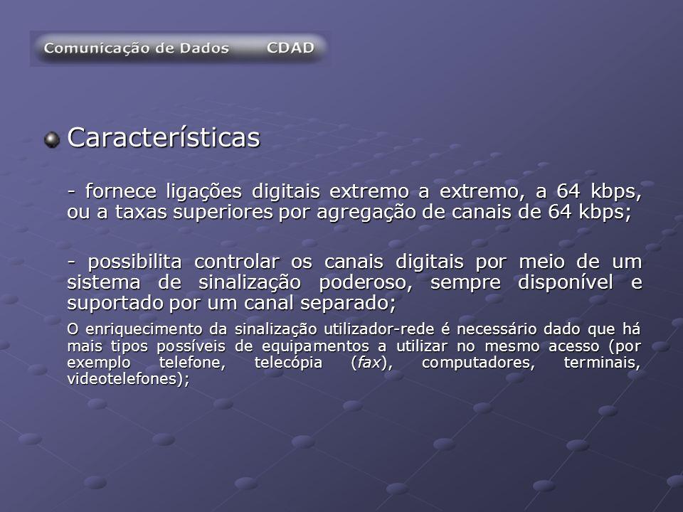Características - fornece ligações digitais extremo a extremo, a 64 kbps, ou a taxas superiores por agregação de canais de 64 kbps;
