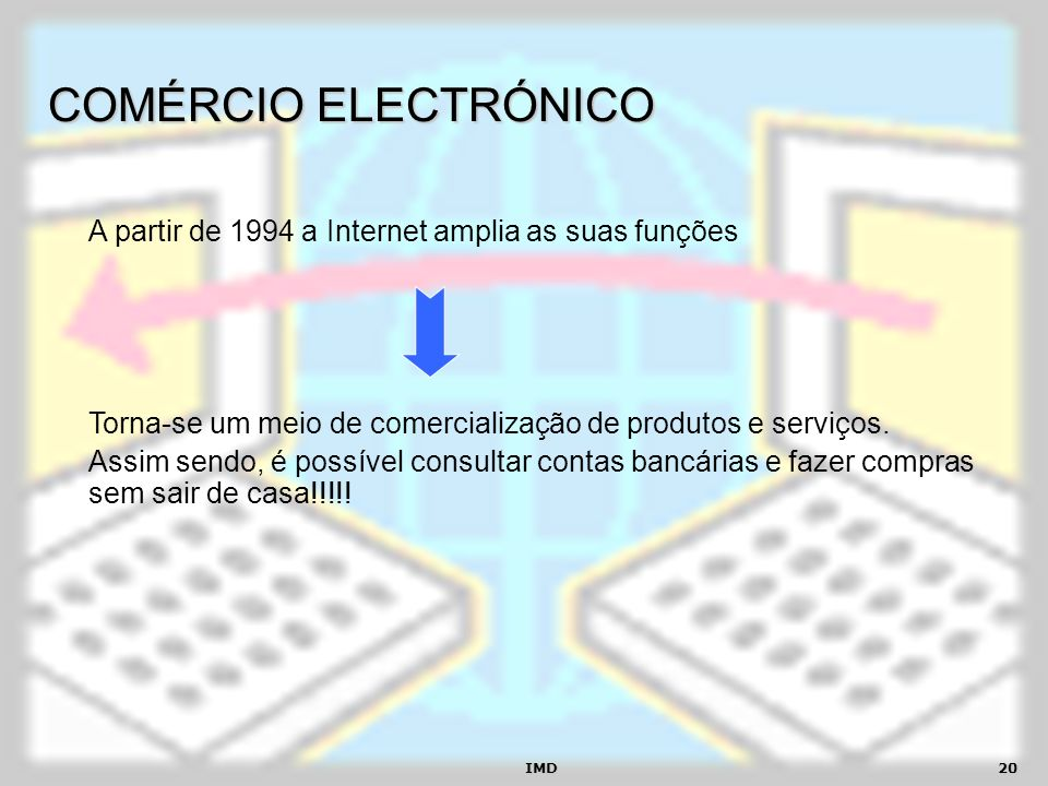 COMÉRCIO ELECTRÓNICO A partir de 1994 a Internet amplia as suas funções. Torna-se um meio de comercialização de produtos e serviços.