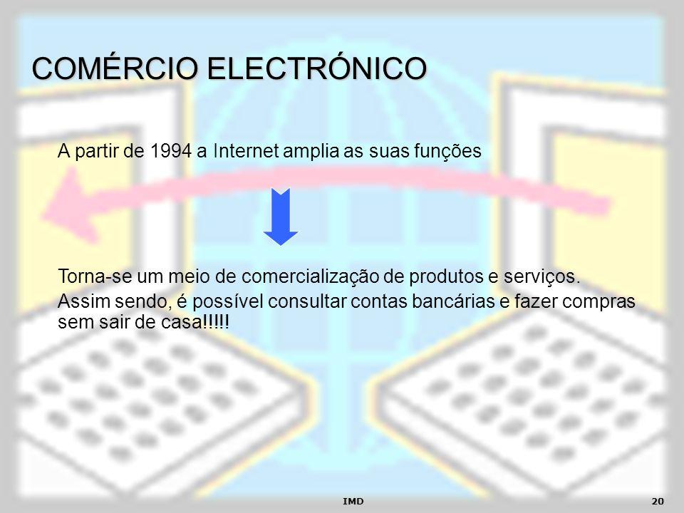 COMÉRCIO ELECTRÓNICOA partir de 1994 a Internet amplia as suas funções. Torna-se um meio de comercialização de produtos e serviços.