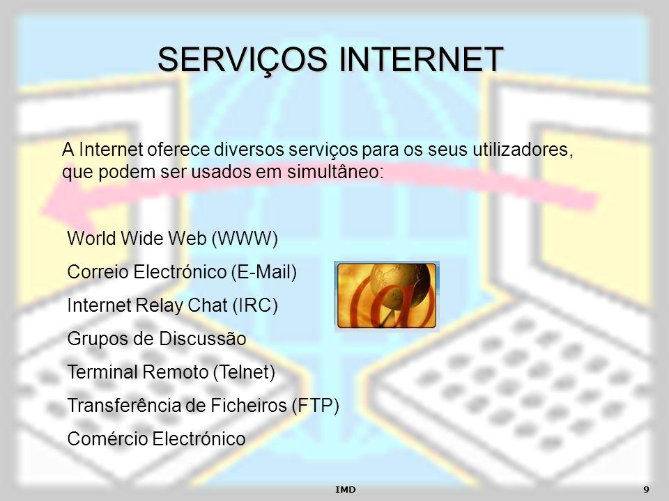 SERVIÇOS INTERNET A Internet oferece diversos serviços para os seus utilizadores, que podem ser usados em simultâneo: