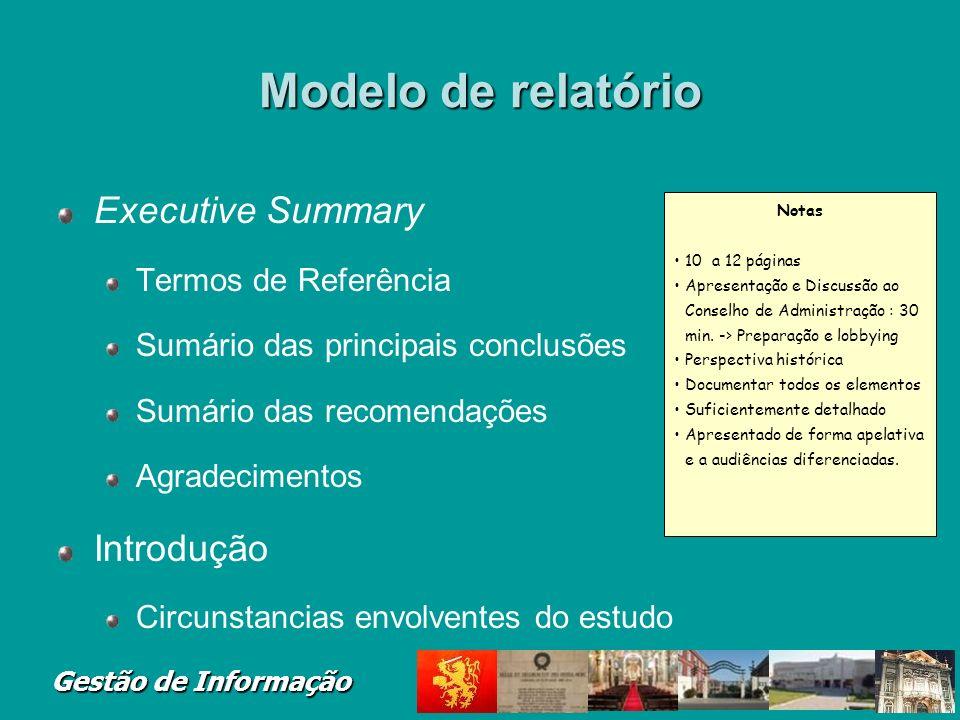 Modelo de relatório Executive Summary Introdução Termos de Referência