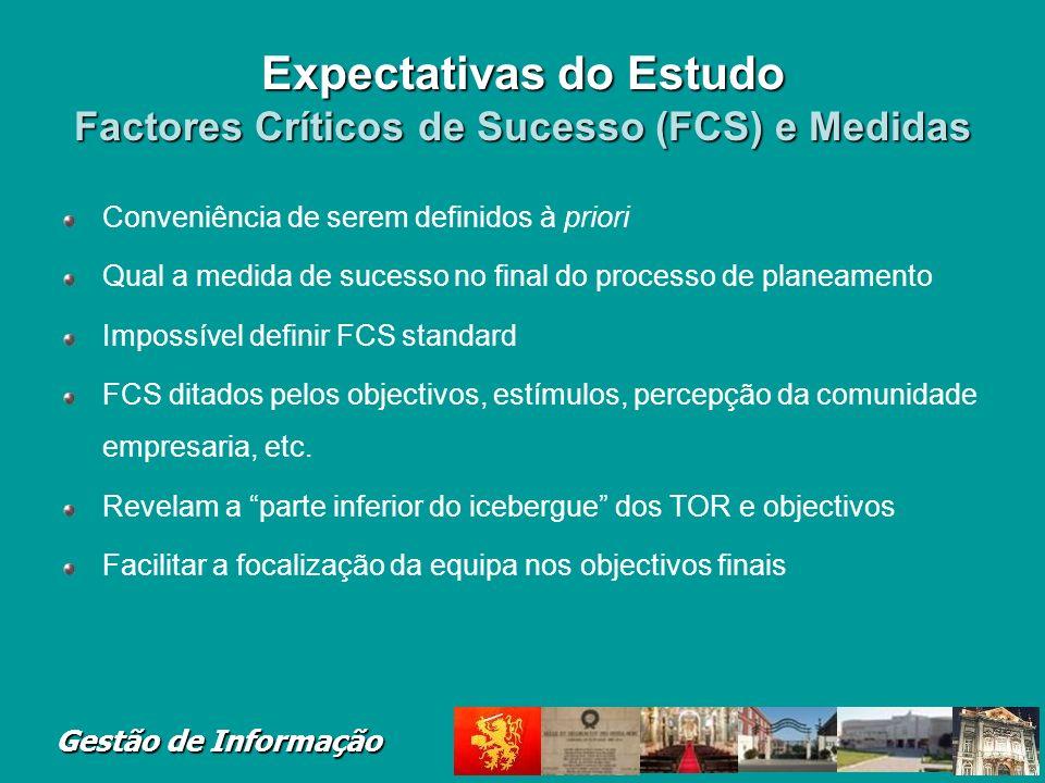 Expectativas do Estudo Factores Críticos de Sucesso (FCS) e Medidas