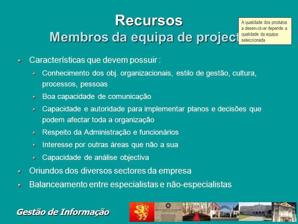 Recursos Membros da equipa de projecto