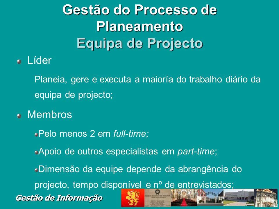 Gestão do Processo de Planeamento Equipa de Projecto