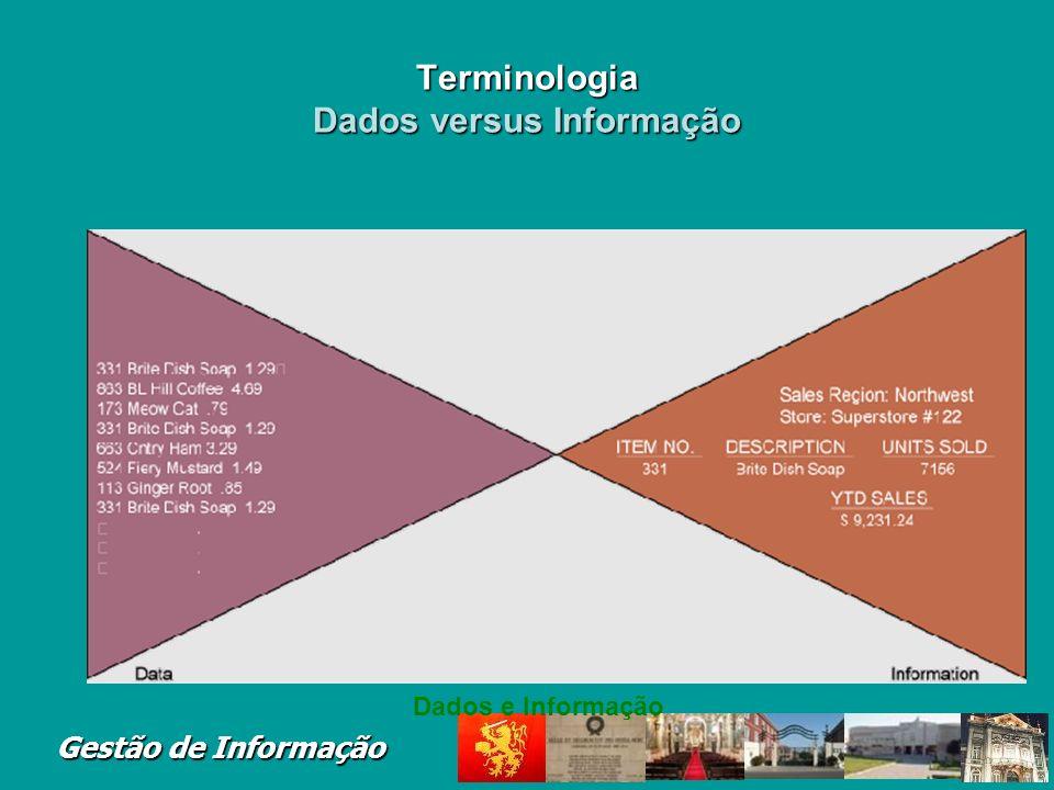 Terminologia Dados versus Informação