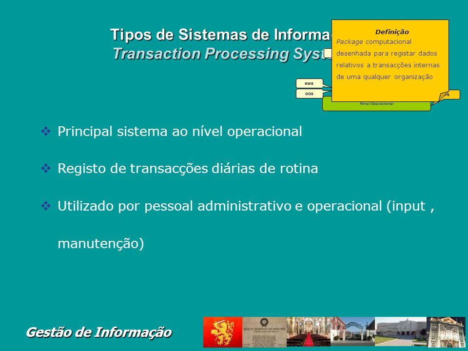 Tipos de Sistemas de Informação Transaction Processing Systems