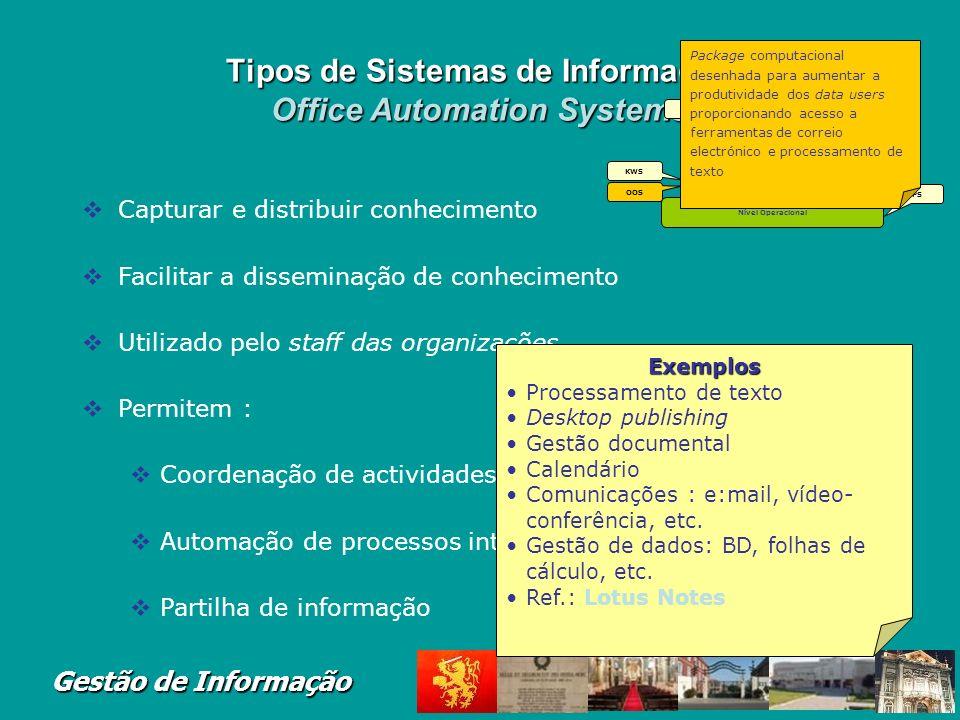 Tipos de Sistemas de Informação Office Automation Systems
