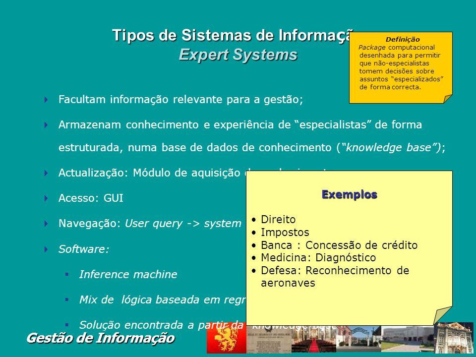 Tipos de Sistemas de Informação Expert Systems