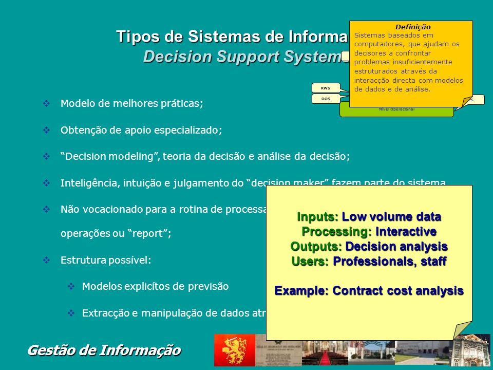 Tipos de Sistemas de Informação Decision Support Systems
