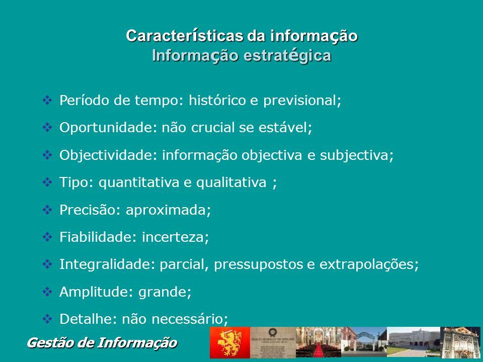 Características da informação Informação estratégica
