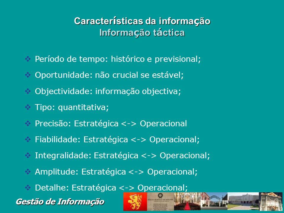 Características da informação Informação táctica