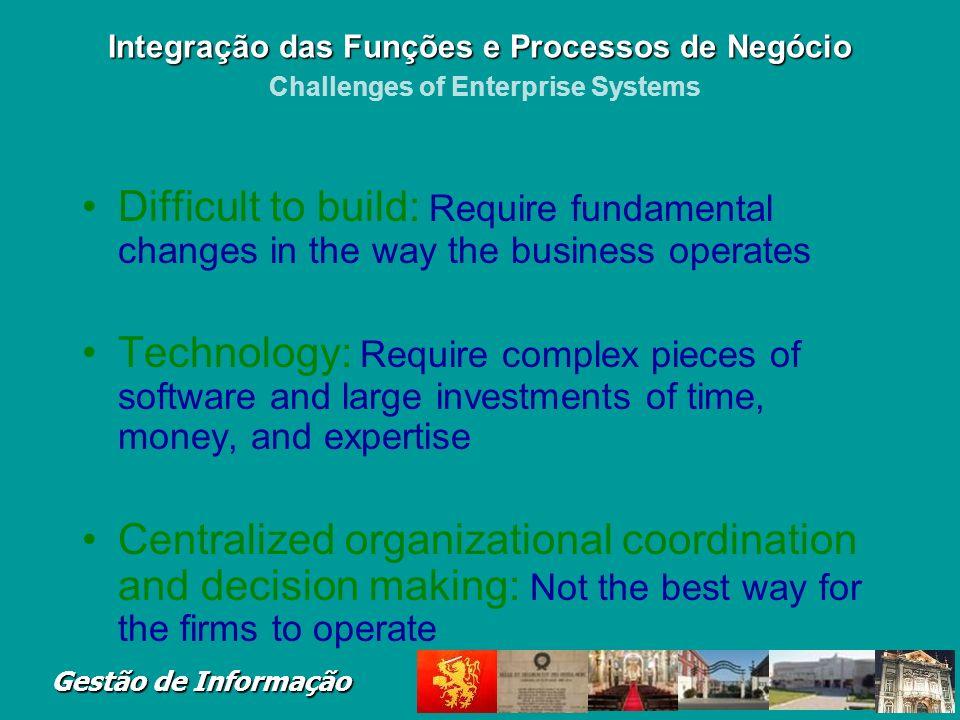Integração das Funções e Processos de Negócio Challenges of Enterprise Systems