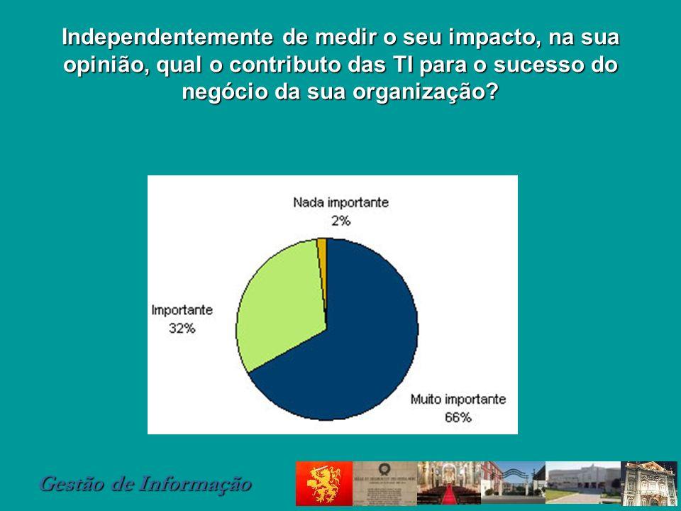 Independentemente de medir o seu impacto, na sua opinião, qual o contributo das TI para o sucesso do negócio da sua organização