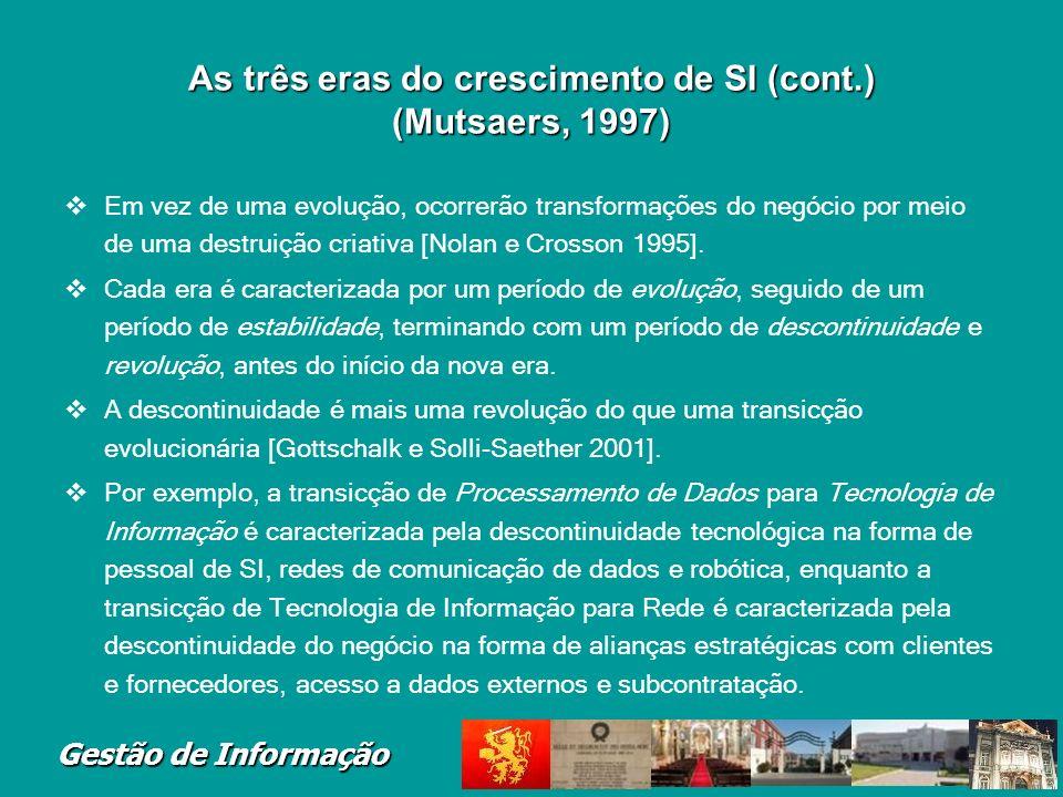 As três eras do crescimento de SI (cont.) (Mutsaers, 1997)