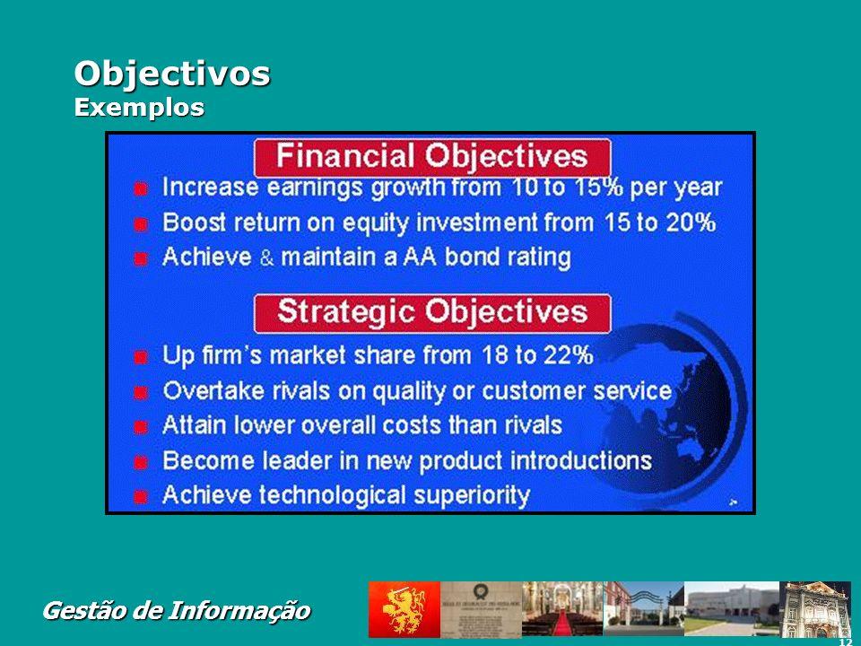 Objectivos Exemplos