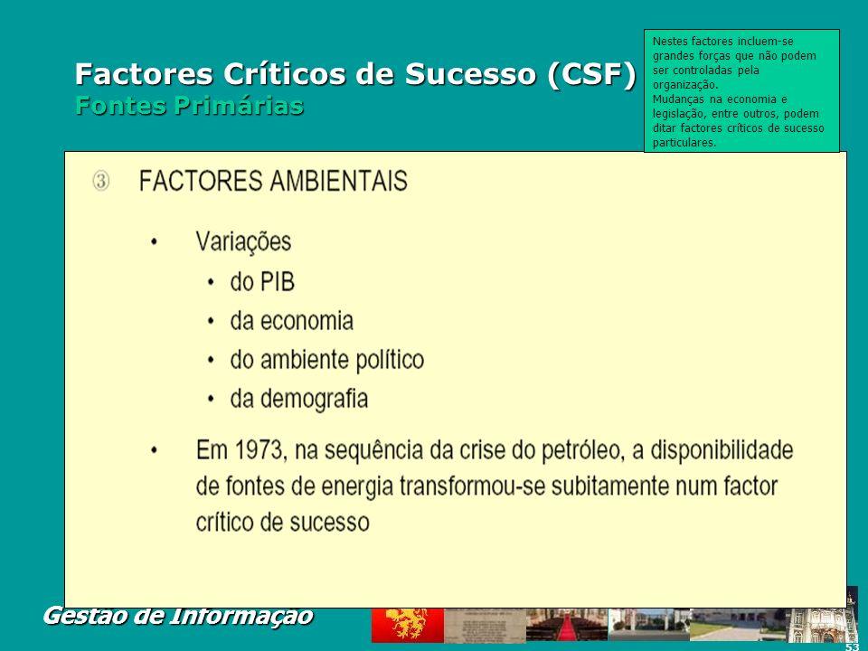 Factores Críticos de Sucesso (CSF) Fontes Primárias